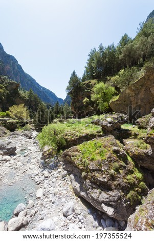 Crete - Greece - Riverbed of the Samaria Gorge - stock photo