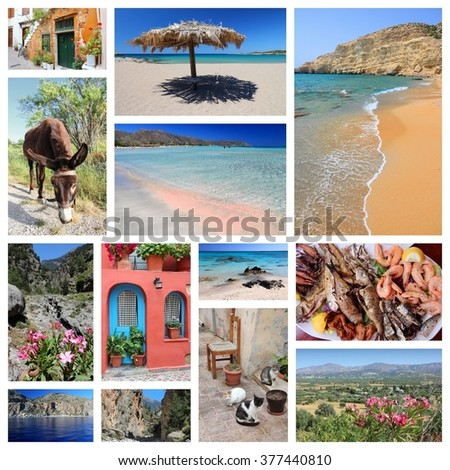Crete island landmarks - travel places collage from Greece. - stock photo