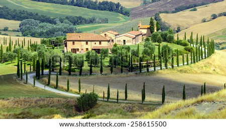 Crete senesi characteristic landscape in province of Siena (Tuscany Italy) at summer. - stock photo