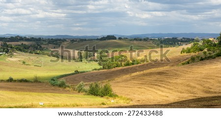 Crete senesi, characteristic landscape in province of Siena (Tuscany, Italy), at summer.