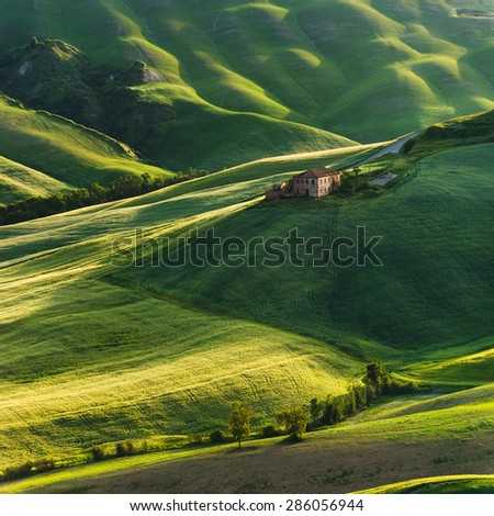 Crete Senesi place in and around Siena and Asciano in spring aura - stock photo