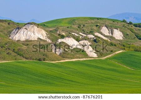 Crete Senesi - Tuscan Landscape in Spring, Italy - stock photo