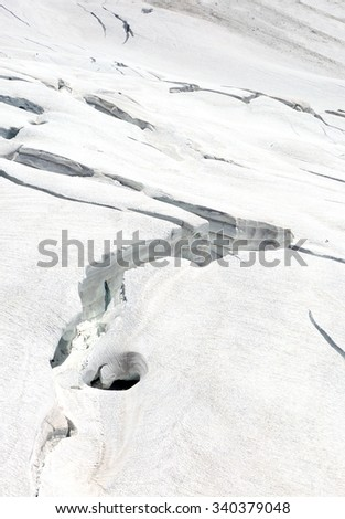 Crevasses on the slope of monch and Trugberg mountains in Jungfrau region - stock photo