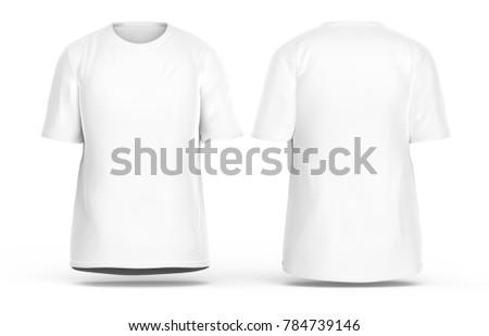 crew neck tshirt set blank white stock illustration 784739146