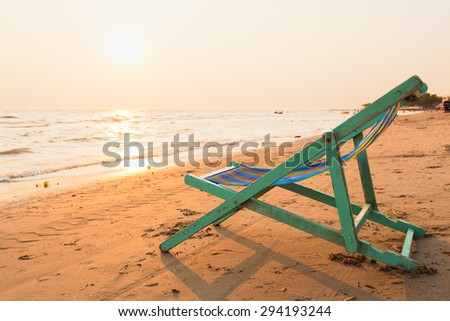 Crib on the beach. The seaside During evening sunset. - stock photo
