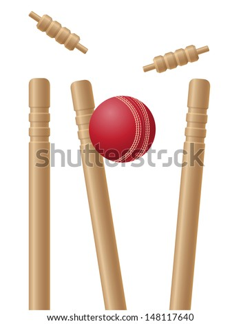 cricet wickets and ball illustration isolated on white background - stock photo