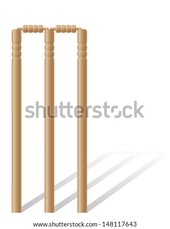 cricet wickets illustration isolated on white background