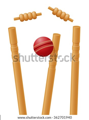 cricket ball caught in the wicket illustration isolated on white background - stock photo