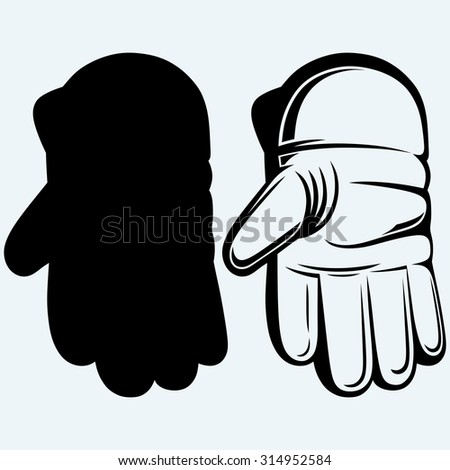 Cricket ball in a wicket keeping glove. Isolated on blue background. Raster version - stock photo