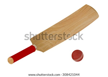 cricket bat and ball isolated on white background