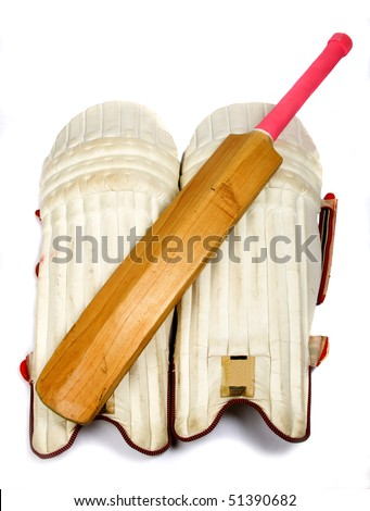 Cricket bat bright pink handle with leg pads for batting.