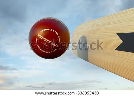 Cricket bat hitting ball - stock photo