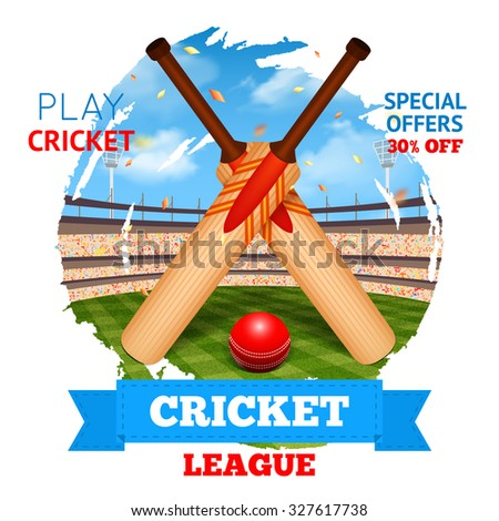 Cricket concept with game bats and ball and stadium on background  illustration - stock photo