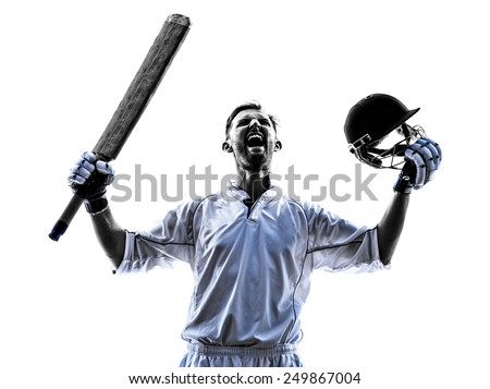 Cricket player portrait in silhouette shadow on white background - stock photo