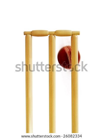 Cricket stumps and cricket ball - stock photo