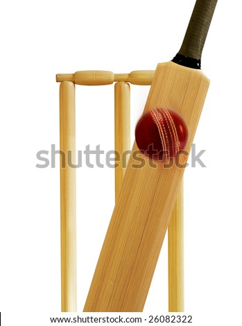 Cricket stumps, cricket bat and cricket ball - stock photo