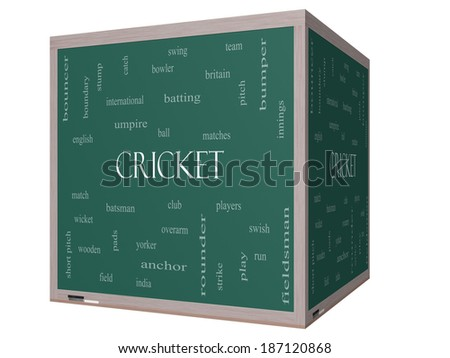 Cricket Word Cloud Concept on a 3D cube Blackboard with great terms such as batsman, wicket, ball and more. - stock photo