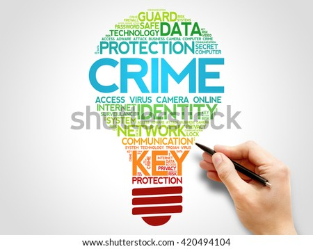 Crime bulb word cloud, business concept - stock photo