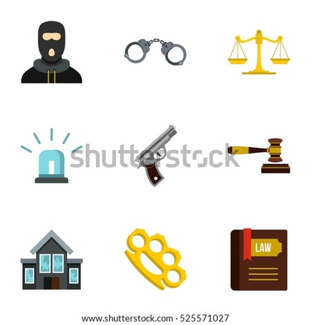 Crime icons set. Flat illustration of 9 crime  icons for web