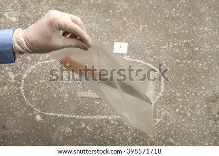 crime investigation. evidence at the crime scene. - stock photo