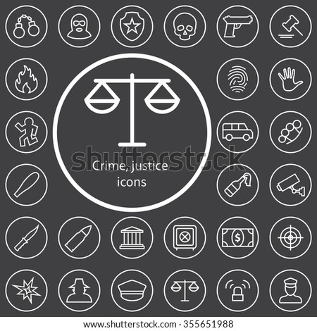 crime, justice outline, thin, flat, digital icon set for web and mobile - stock photo