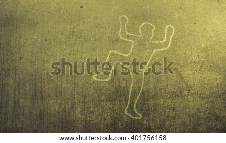 Crime scene chalk line of an auto accident with tire skid marks leading over the body.vintage tone - stock photo