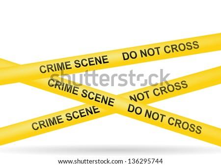 crime scene do not cross police yellow stop - stock photo