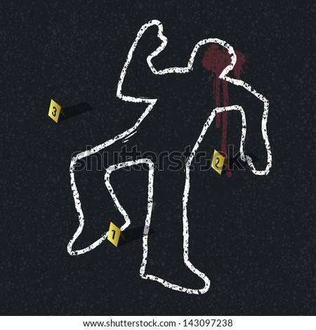 Crime scene illustration. Raster version, vector file available in portfolio. - stock photo