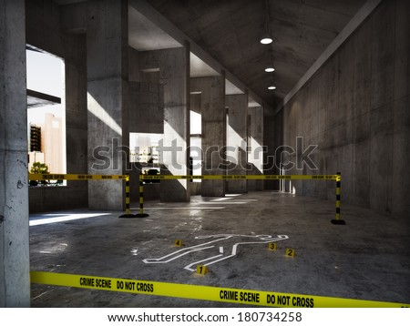 Crime scene in an empty building - stock photo