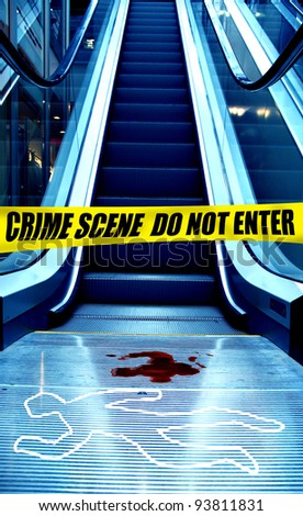 crime scene in front of an escalator in a shopping mall - stock photo