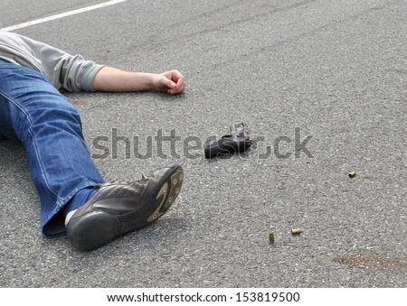 Crime Scene- place of shooting with dead body - stock photo