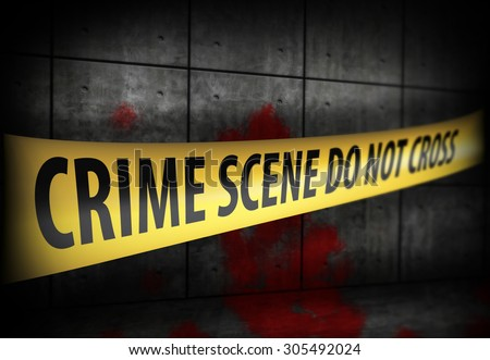 Crime scene Police line tape against blood on the wall - stock photo