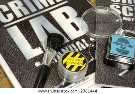 Crime Scene Related Objects - Crime Lab Concept - stock photo