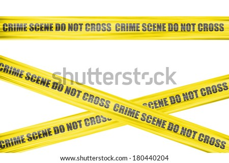 Crime scene yellow cordon tape, isolated on white background. - stock photo