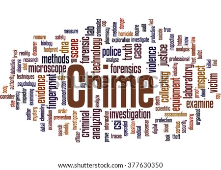 Crime, word cloud concept on white background.  - stock photo