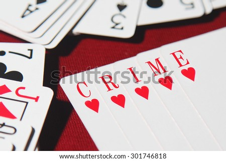 CRIME word written on card - stock photo