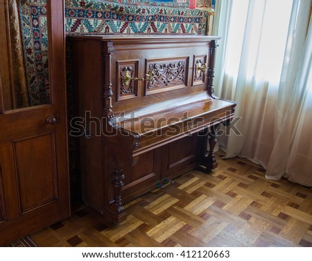 CRIMEA, RUSSIA - SEPTEMBER 25, 2014: An old piano in Vorontsov Palace in Alupka. The palace is built in 1848.