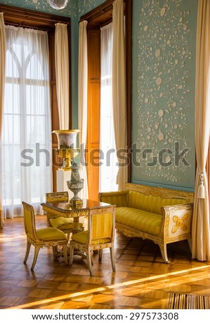 CRIMEA, RUSSIA - SEPTEMBER 25, 2014: Interiors of halls in Vorontsov Palace in Alupka. The palace is built in 1848.