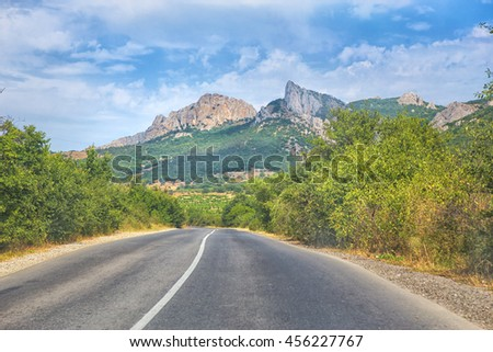 Crimea the twisting highway in the mountain district