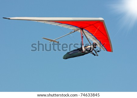 CRIMEA, UKRAINE - SEPTEMBER 9: Competitor (Ivan Mavpenko) of the Grininko hang gliding competitions takes part in the Klementieva mountain on September 9, 2010 in Crimea, Ukraine