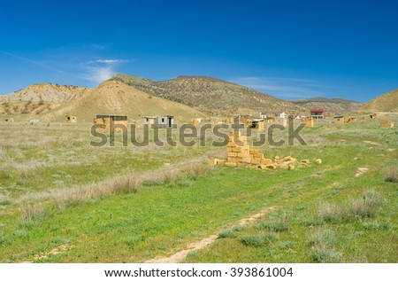 Crimean landscape with new settlement on a Meganom cape on Crimean peninsula