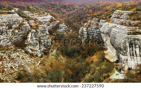 Crimean mountain in late autumn - stock photo