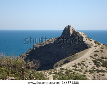 Crimean mountains and the Black sea - stock photo