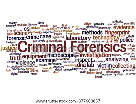Criminal Forensics, word cloud concept on white background.