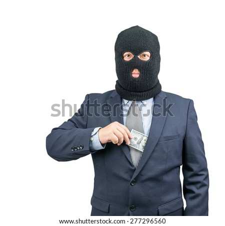 Criminal holding money from suit on white background