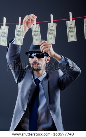 Criminal laundering dirty money - stock photo