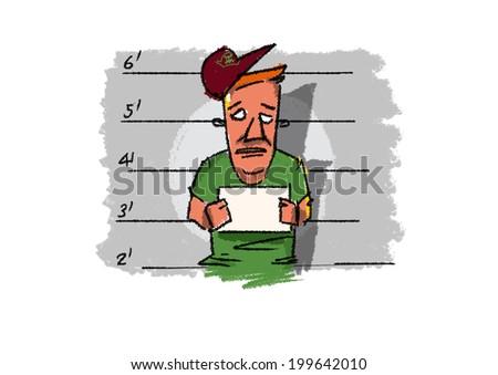 criminal mug shot - illustration - stock photo