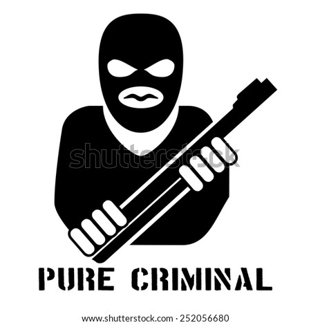Criminal person logo. Logo black silhouette of a person keeps gun crime in the hands on a white background - stock photo