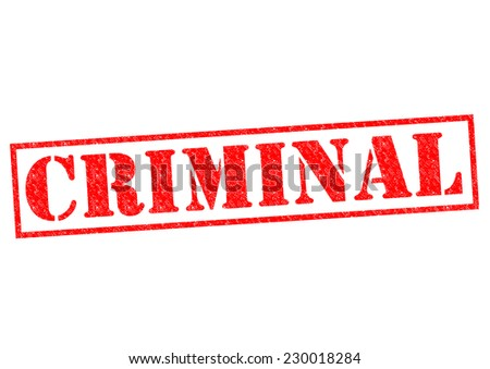 CRIMINAL red Rubber Stamp over a white background.