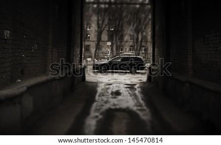criminal urban decay (tilt-shift lens f/x)  - stock photo